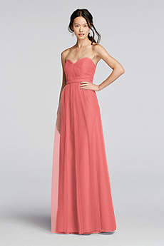 Long Coral Bridesmaid Dresses & Gowns | David's Bridal